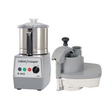 Robot Coupe R402 Combination Food Processor, 4.5 qt. stainless steel bowl with handle, continuous feed kit with kidney shaped & cylindrical shaped