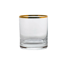Steelite International 480142R220 Double Old Fashioned Glass, 15 oz., (H 4; M 3-1/2; T 3-1/2; B 3-3/8), gold rim, Rona, Gold Miners (24 ea/cs)