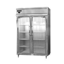 Continental DL2F-GD Designer Line Freezer, reach-in, two-section, self-contained refrigeration, aluminum exterior & interior, stainless steel front