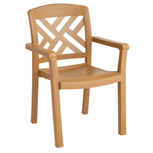 Grosfillex 45451408 Sanibel Classic Stacking Dining Armchair, designed for outdoor use, Rexform resin with synthetic wood texture finish, teakwood