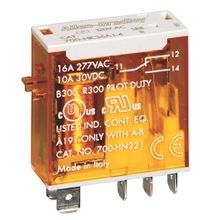 700-HK General Purpose Slim Line Relay, 8 Amp Contact, DPDT, 120V 50/60Hz, Push-To-Test & Manual Override function and Pilot Light