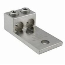 ILSCO® AU-350-2N Dual Rated Mechanical Terminal Lug, 6 AWG to 350 kcmil Aluminum/Copper Conductor, 1/2 in Stud, 2 Bolt Holes, Aluminum