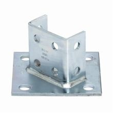 B-Line B281ZN Square Post Base, 2 Channels, 45 deg Centered Offset Channel Position, 3-1/2 in Base, For Use With 1-5/8 x 1-5/8 in Side by Side Channel, Strip Steel
