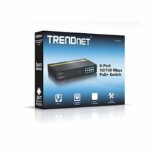 TRENDnet® TPE Power Over Ethernet Switch, 8 x 10/100 Mbps PoE/PoE+ Ports Interface, 1.6 Gbps Switching, 160 KB