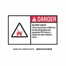 Brady® EL-3 Laminated Arc Flash Danger Label, 5 in H x 7 in W, B-302 Polyester, Black/Red on White