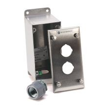 Push Button Enclosure, Stainless Steel (#304), 4 Holes with 1 3/4 in. Diameter Hub, Type 4/4X/13