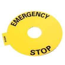 800F Legend Plate, 90mm RoundEMERGENCY STOP, Yellow with Black Legend Text, 22.5mm Opening