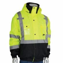PIP® 333-1770-LY/4X Bomber Jacket With Zip-Out Fleece Liner, Unisex, 4XL, Hi-Viz Lime Yellow, Polyester, 66 in Chest