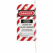 Honeywell Safety ELA230G/1 Lockout Tag, 5-3/4 in H x 3 in W, Red/Black/White, 1/4 in Hole, Styrene