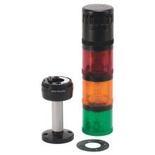 Pre-Assembled Ctl. Tower, 10cm Pole Mount with Cap, Black Housing, 24V AC/DC Full Voltage, Green Steady LED, Dual Tone Sound Module