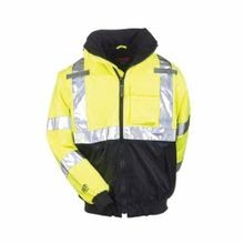 Tingley J26002-LG Hi-Viz Bomber Jacket, Men's, L, Fluorescent Yellow/Green/Black Silver, 300D Polyurethane Coated Polyester, 52 in Chest