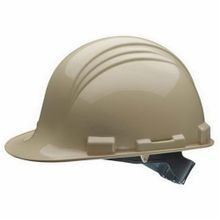 Honeywell Safety A69100000 Peak Front Brim Hard Hat, Tan, HDPE, 6-Point Nylon Webbing Pinlock Suspension, Class E