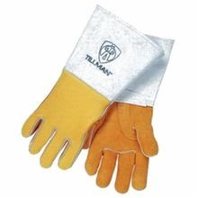 Tillman™ 850-L Super Premium Welding Gloves, L, Elkskin Leather Palm, Gold, Straight Thumb, Cowhide Back/Kevlar® Stitching/Cowhide Leather Cuff
