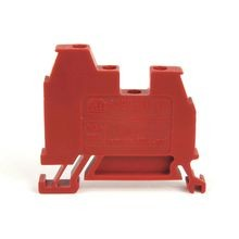 1492-W IEC Terminal Block, One-Circuit Feed-Through Block, 4 mm (# 22 AWG - # 10 AWG) or 2.5 mm (# 22 AWG - # 12 AWG), 3 Connection points, 2 on one side, Red,