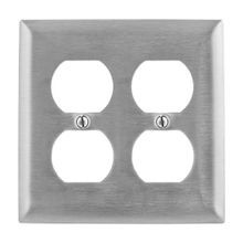 Bryant Electric SS82 Standard Wallplate, 2 Gangs, 4.5 in H x 4.6 in W, 302/304 Stainless Steel
