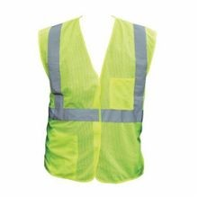 PIP® 302-0702-LY-XL Safety Vest, XL, Hi-Viz Lime Yellow, Polyester Mesh, 52 in Chest, Class 2