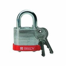 Brady® 99500 Safety Padlock, Different Key, 17/64 in Dia x 3/4 in H Shackle, Reinforced Laminated Steel Body, Red