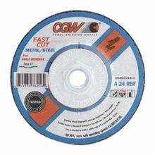 CGW® 36262 Flat Depressed Center Wheel, 7 in Dia x 1/4 in THK, 5/8-11, A24R Grit, Aluminum Oxide Abrasive