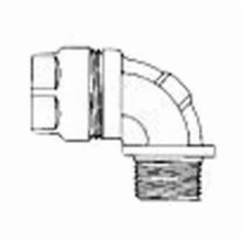 O-Z/Gedney 4Q-9250 Concretetight Liquidtight Oiltight Raintight Conduit Connector, 2-1/2 in Trade, 90 deg, Malleable Iron, Zinc Electroplated