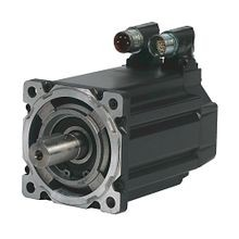 Bulletin MPM - Medium-Inertia Servo Motors Product, 460 V, 1500 RPM, Multi-turn High-resolution Encoder (absolute feedback). Keyed Shaft Extension, SpeedTEC DIN Connector, Right Angle, 180° Rotatable (Quick Connect), 24V DC Brake, IEC Metric