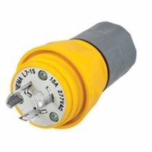Wiring Device-Kellems Twist-Lock® HBL24W34 Non-Shrouded Watertight Locking Plug, 277 VAC, 15 A, 2 Poles, 3 Wires, Yellow