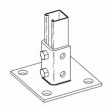 B-Line B280SQZN Square Post Base, 1 Channels, Centered Channel Position, 3-1/2 in Base, For Use With 1-5/8 x 1-5/8 in Channel, Strip Steel