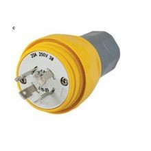 Wiring Device-Kellems Twist-Lock® HBL26W75 Non-Shrouded Watertight Locking Plug, 250 VAC, 20 A, 3 Poles, 4 Wires, Yellow