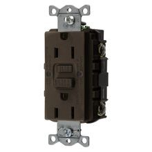 Wiring Device-Kellems AUTOGUARD® Style Line GFRST15 Grounding Self-Test GFCI Receptacle With Auto Grounding, 125 VAC, 15 A, 2 Poles, 3 Wires, Brown