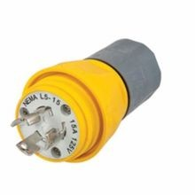 Wiring Device-Kellems Twist-Lock® HBL24W47A Non-Shrouded Watertight Locking Plug, 125 VAC, 15 A, 2 Poles, 3 Wires, Yellow