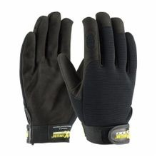 PIP® Maximum Safety® 120-MX2805/L Professional Grade Unisex Mechanics Gloves, L, Synthetic Leather Palm, Black, PVC/Stretch Fabric