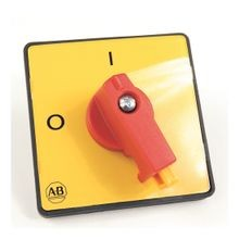 IEC Control and Load Switch Actuator, Type L, Yellow/Red, 64mm x 64mm, Legend Text: 0-1 (90°)