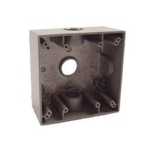 BELL® 5341-0 Weatherproof Outlet Box With Lugs, Die Cast Aluminum, 32 cu-in, 2 Gangs, 3 Outlets, 4-1/2 in H x 4-1/2 in W x 2-1/8 in D