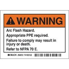 Brady® EL-1 Arc Flash Label, 5 in W, Warning - Arc Flash Hazard. Appropriate PPE Required. Failure To Comply Can Result in Death or Injury. Refer to NFPPA 70 E., B-302 Polyester