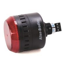 855PC Panel Mount Sounder with LED, Black Housing, 24V AC/DC, 45 mm, Red Lens, 22.5 mm Mounting Hole