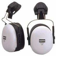 North® by Honeywell EM7206 Intruder® Hard Hat Ear Muffs, 27 dB Noise Reduction, Black/White, ABS Cup/Vinyl Cushion