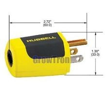 Hubbell® ErgoGrip Grounding Straight Blade Plug, 125 VAC, 15 A, 2 Poles, 3 Wires, Yellow