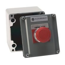 800R Pushbutton Station, Standard, 1 Push Button,Bulletin 800T Units, NEMA Type 4 and 13 Cast Aluminum Alloy Surface Mount, EMERGENCY STOP (RED)