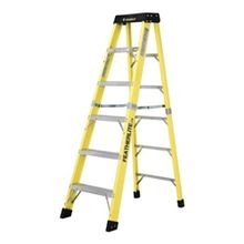Featherlite 6400 Extra Heavy Duty Step Ladder, 6 ft Ladder, 300 lb Load, Fiberglass, Type 1A
