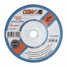 CGW® 35612 Flat Depressed Center Wheel, 4-1/2 in Dia x 1/8 in THK, 7/8 in, A24R Grit, Aluminum Oxide Abrasive