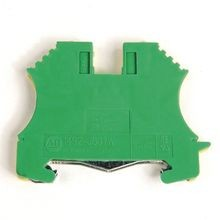 1492-J IEC Terminal Block, One-Circuit Feed-Through Ground Block, 2.5 mm (# 24 AWG - # 12 AWG), 3 Connection points, 2 on one side, Green / Yellow Stripe (Standard),