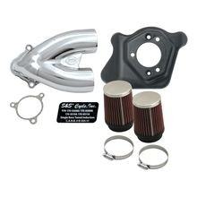 S&S<sup>®</sup> Single Bore Tuned Induction Kit for 2008-'16 HD<sup>®</sup> Touring Stock-Bore Throttle By Wire and 2016-'17 Softail<sup>®</sup> (except Tri-Glide<sup>®</sup> & CVO<sup>®</sup>) Models - Chrome