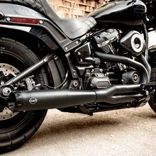 SuperStreet 2-1 50 State Legal Exhaust System, Black with Black End Caps for 2018-'19 HD<sup>®</sup> Softail<sup>®</sup> Fat Bob<sup>®</sup> Models