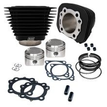 1200cc Cylinder and Piston Kit For 1986-'03 Sportster Models and 1994-'02 Buell Models with S&S Super Stock Cylinder heads - Wrinkle Black Finish