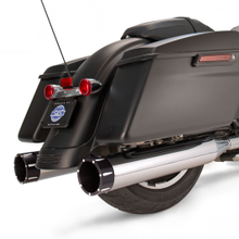 "Mk45 Slip-On Mufflers Chrome with Highlight Machined Black Tracer End Caps - 4.5"" for 1995-'16 Touring Models"