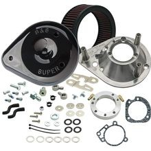 S&S<sup>®</sup> Teardrop Air Cleaner Kit for 1993-'06 HD<sup>®</sup> Carbureted Big Twins and 2007-'10 Softail<sup>®</sup> CVO<sup>®</sup> Models - Gloss Black