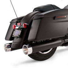 "Mk45 Slip-On Mufflers Ceramic Black with Chrome Tracer End Caps - 4.5"" for 1995-'16 Touring Models"