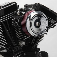 S&S<sup>®</sup> Stealth Air Cleaner Kit With Chrome Dished Bobber Cover for 1999-'06 HD<sup>®</sup> Carbureted Big Twins and 2007-'10 Softail<sup>®</sup> CVO<sup>®</sup> Models