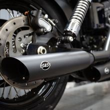 "Slash Cut Slip-On Mufflers Black with Slash Down End - 3.25"" for 1995-2009 Dyna<sup>®</sup> models with staggered exhaust (FXD<sup>®</sup>, FXDB<sup>®</sup>, etc)"