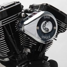S&S<sup>®</sup> Chrome Mini Teardrop Stealth Air Cleaner Kit for 1991-2006 xl with Stock CV Carb