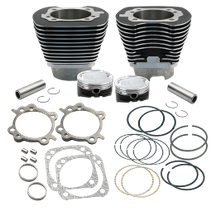 "4 1/8"" Low Compression Bore Cylinder & Pistons Kit for 124"" Hot Set Up Kit<sup>®</sup> For 1999-'06 Big Twins With Stock Cylinder Heads - Wrinkle Black Powder Coat FInish"
